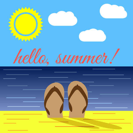 Summer on Beach and the Word Hello Summer