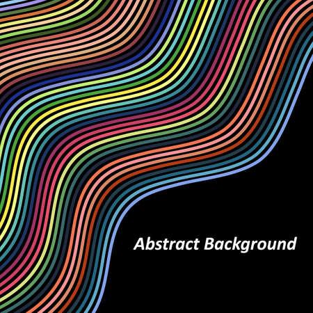 Optical Art Background Colorful Wave Design Over Black Background. Wave Effect Stripe.