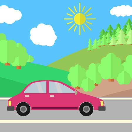화창한 날에도 빨간 차. 여름 여행 그림입니다. 풍경 위에 자동차입니다.