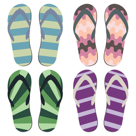 beach slippers: Set of Beach Slippers. Colorful Summer Flip Flops Over White Background.