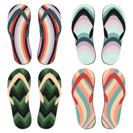 Set of Beach Slippers. Colorful Summer Flip Flops Over White Background.