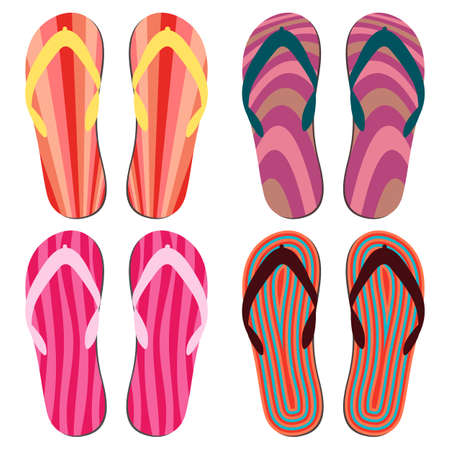 Set of Beach Slippers. Colorful Summer Flip Flops Over White Background