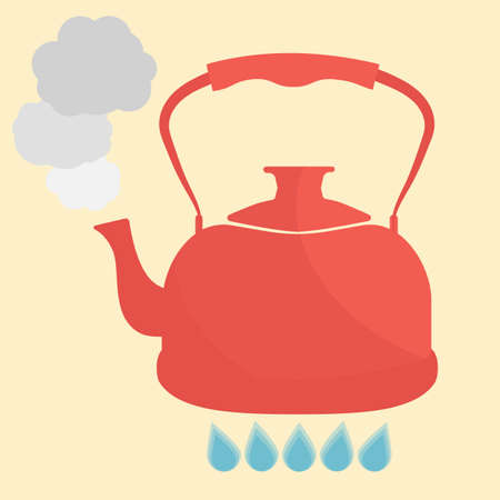 Kettle boils with water flat style vector illustration. Kitchen utensils stock illustration. Illustration