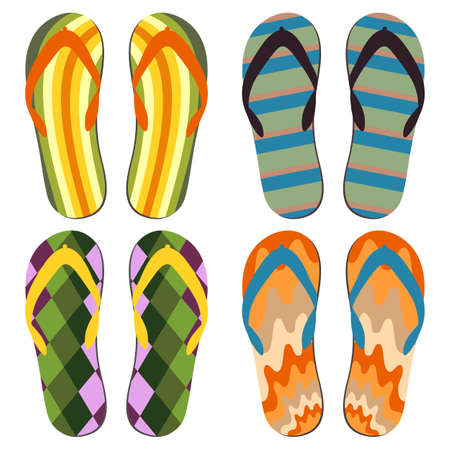 beach slippers: Set of Beach Slippers. Colorful Summer Flip Flops Over White Background