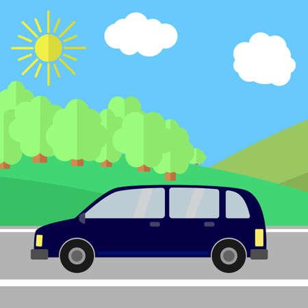 Dark Blue Sport Utility Vehicle on a Road on a Sunny Day. Summer Travel Illustration. Car over Landscape. Illustration