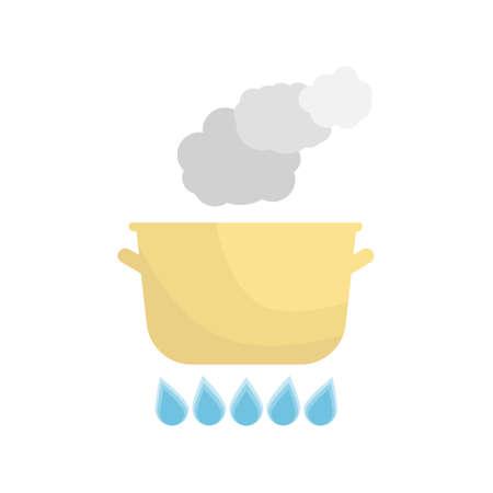 Boiling pot on the gas. Kitchen utensils over white background. Vector Illustration. Illustration