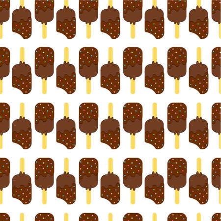wooden stick: Seamless Colorful Ice Cream Pattern. Ice Cream Dessert on a Wooden Stick. Vector illustration. Illustration