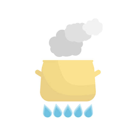 hobs: Boiling pot on the gas. Kitchen utensils over white background. Vector Illustration. Illustration