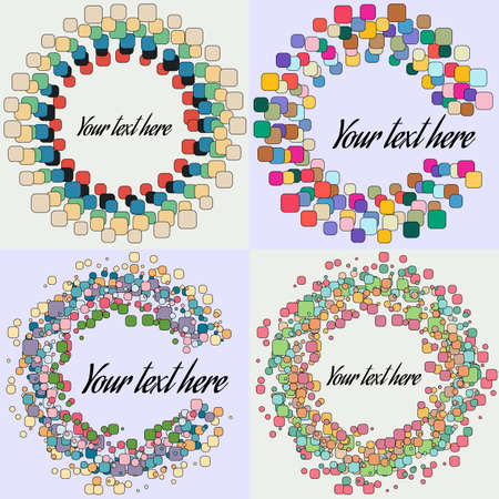 form a circle: Set of Abstract Round Form with colored Vector Bubbles. Design Circle Template Background.