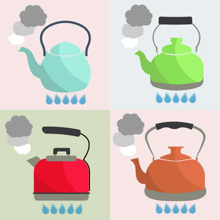 boils: Set of kettle boils with water flat style vector illustration. Kitchen utensils stock illustration.