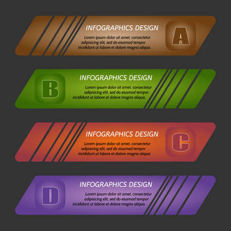 bookmarks: Vector illustration infographic template with step. Colorful bookmarks, arrows, banners for text.
