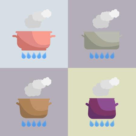 hobs: Set of boiling pot on the gas. Kitchen utensils. Vector Illustration.
