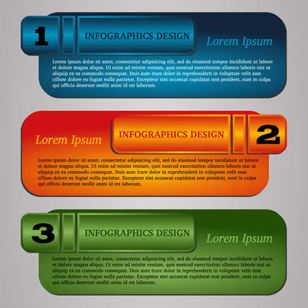 bookmarks: Vector illustration infographic template with step. Colorful bookmarks and banners for text.