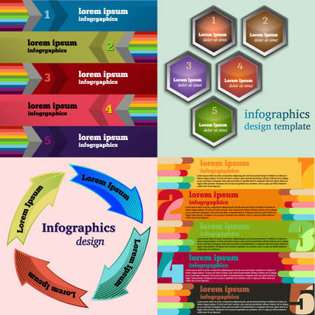 bookmarks: Set of Vector illustration infographic template with step. Colorful bookmarks and banners for text. Illustration