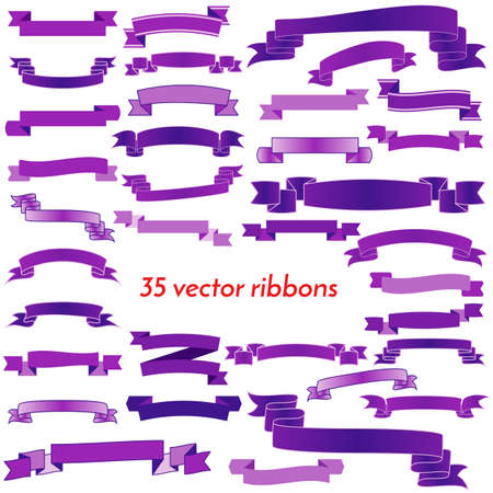 thirty five: Set of Thirty Five Violet Empty Ribbons And Banners. Ready for Your Text or Design. Isolated vector illustration.