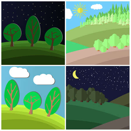 shrubs: Set of summer landscape. Day and Night on a Clearing in the Forest. Cartoon vector illustration.