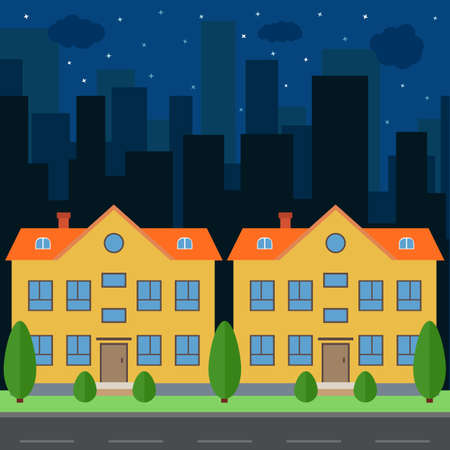 Vector night city with cartoon houses and buildings. City space with road on flat style background concept. Summer urban landscape. Street view with cityscape
