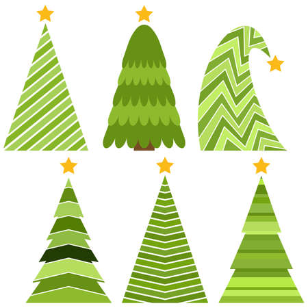 Set of Christmas trees. Isolated vector illustration for Merry Christmas and Happy New Year. Illustration