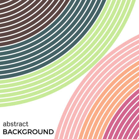 looped shape: Abstract background with bright rainbow colorful lines. Colored circles with place for your text on a white background. Illustration