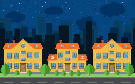 Vector night city with cartoon houses and buildings. City space with road on flat style background concept. Summer urban landscape. Street view with cityscape on a background Illustration