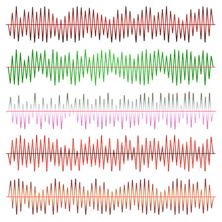 Sound waves vector set. Audio equalizer. Sound & audio waves isolated on black background. Иллюстрация