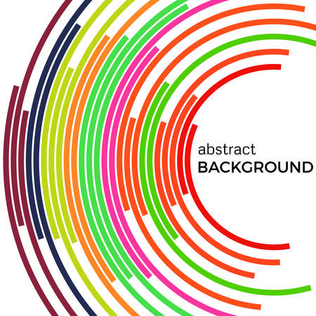 Abstract background with bright rainbow colorful lines. Colored circles with place for your text on a white background. Illustration