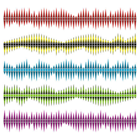 Sound waves vector set. Audio equalizer. Sound & audio waves isolated on white background. Иллюстрация