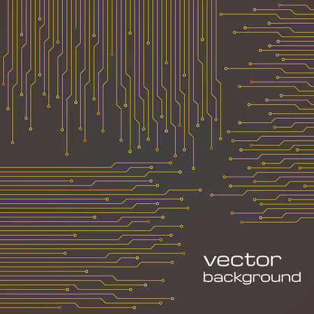 electronic circuit: Abstract technological brown background with elements of the microchip. Circuit board background texture. Vector illustration.