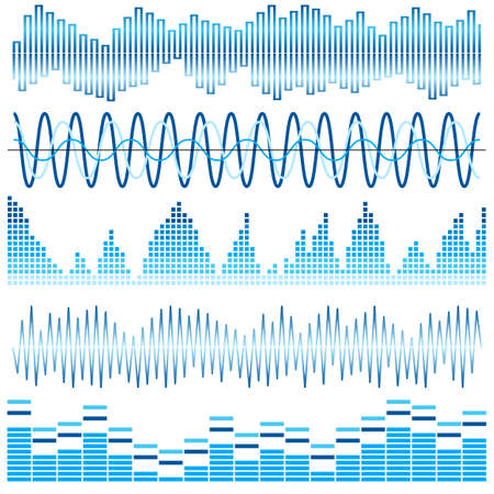 soundwave: Vector set of blue sound waves. Audio equalizer. Sound & audio waves isolated on white background.