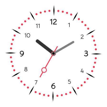 Vector illustration of mechanical clock. Clock face on white background.