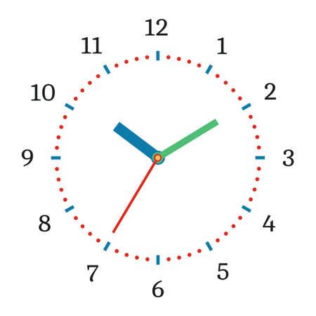 Vector illustratie van mechanische klok. Klokgezicht op witte achtergrond.