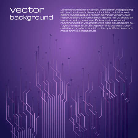 Abstract technological purple background with elements of the microchip. Circuit board background texture. Vector illustration. Illustration