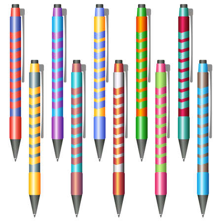 Set of multi-colored pens on a white background