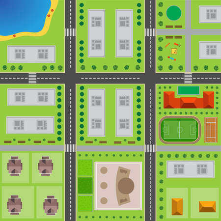 Plan Of City. Top view of the city with the road, crossroad, high-rise buildings, trees, shrubs, beach, playground, office building, concert hall, stadium, tennis court and private houses.