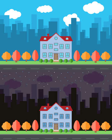 Vector city with cartoon house in the day and night.Summer urban landscape. Street view with cityscape on a pattern