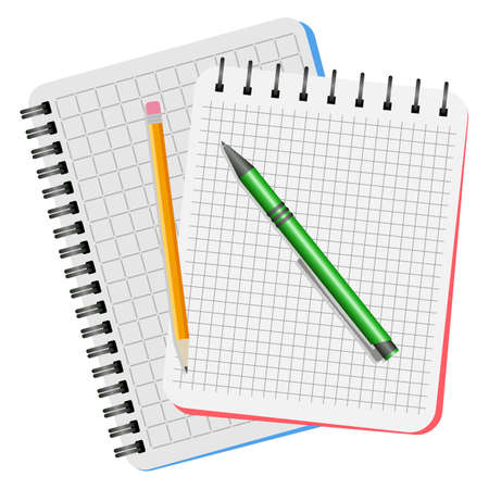 Two notebooks, green pen and yellow pencil on a white background. Illustration