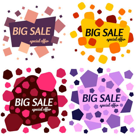 sales promotion: Set of big sale special offer square banners on white background. Vector background with colorful design elements. Vector illustration.
