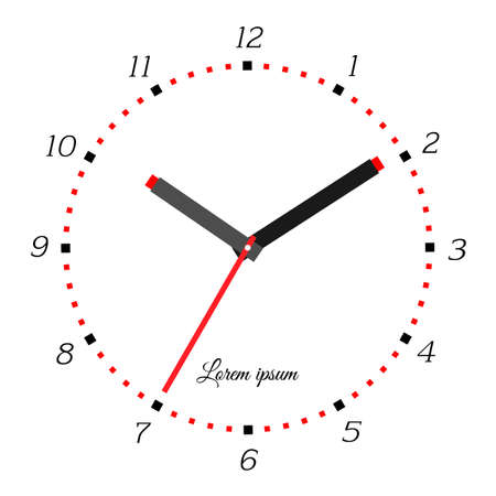 pm: Vector illustration of mechanical clock. Clock face on white background.