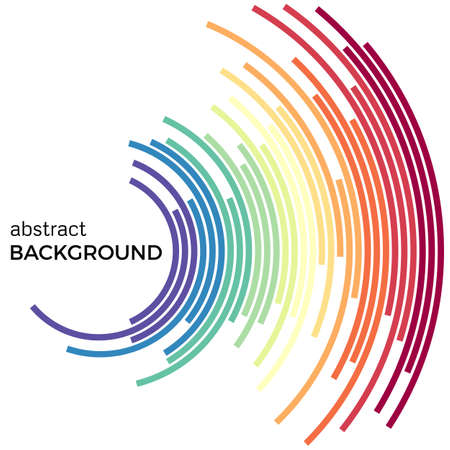 Abstracte achtergrond met heldere regenboog kleurrijke lijnen. Gekleurde cirkels met plaats voor uw tekst op een witte achtergrond.