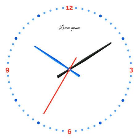 機械式時計のベクター イラストです。白い背景の上の時計の文字盤。