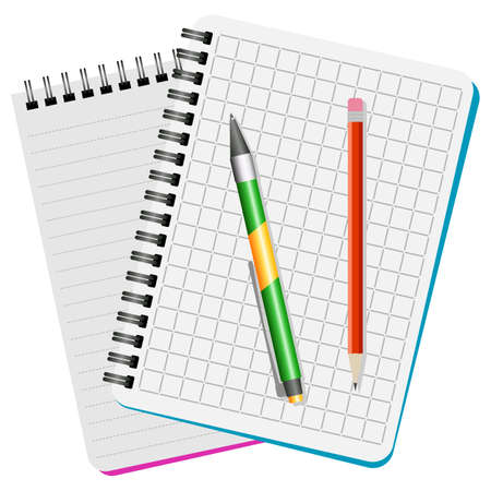 Two notebooks, green pen and red pencil on a white background