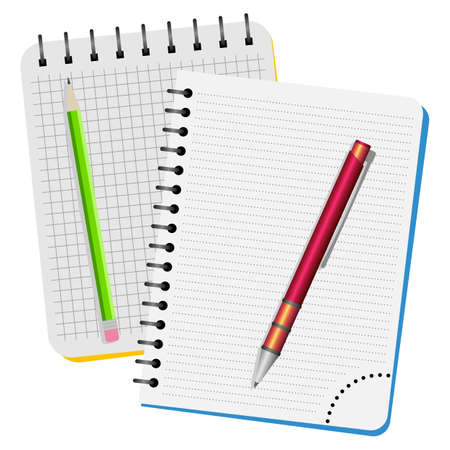Two notebooks, red pen and green pencil on a white background