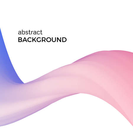 Color abstract composition of the pink watercolor waves. Vector abstract colorful background with bent dynamic form.