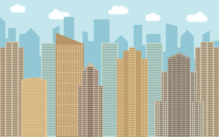 condo: Vector urban landscape illustration. Street view with cityscape, skyscrapers and modern buildings at sunny day. City space in flat style background concept.
