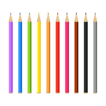Set of multi-colored pencils on a white background