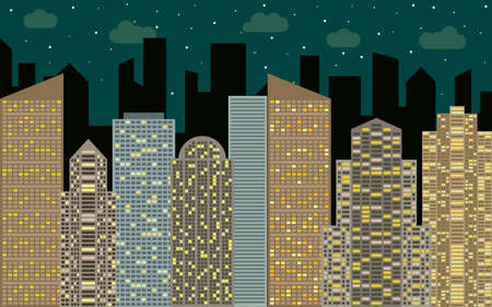 real estate house: Night urban landscape. Street view with cityscape, skyscrapers and modern buildings at sunny day. City space in flat style background concept. Illustration
