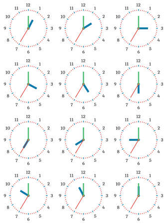 pm: A set of mechanical clocks with an image of each of the twelve hours. Clock face on white background.