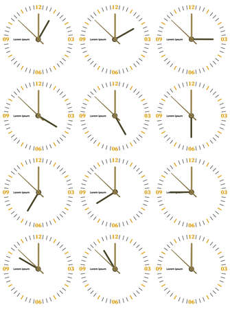 A set of mechanical clocks with an image of each of the twelve hours. Clock face on white background.