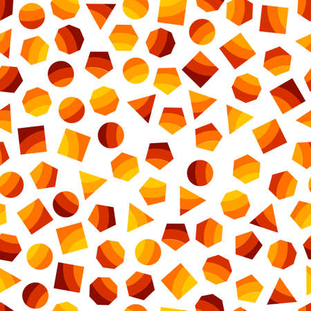 memphis: Seamless geometric pattern with orange squares, triangles, circles, pentagons, hexagons and heptagons for tissue and postcards. Trendy geometric elements. Hipsters modern color background. Vector illustration
