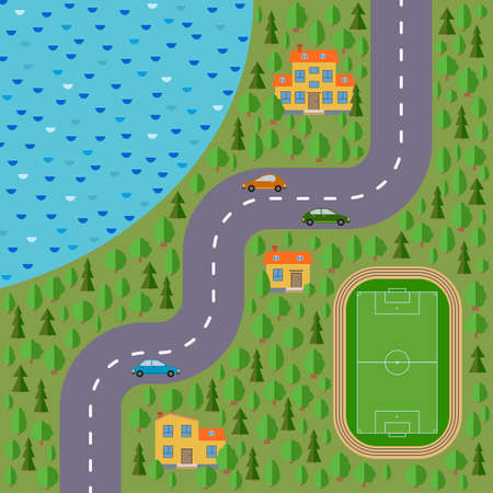 Plan of village. Landscape with the road, forest, lake, stadium, cars and houses. Vector illustration